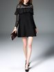 Crochet-trimmed Cotton-blend Plain Casual Long Sleeve Mini Dress