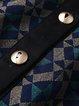 Multicolor Long Sleeve Paneled Geometric Printed Midi Dress