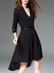 Black High Low PU 3/4 Sleeve Paneled Midi Dress