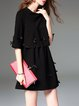 Black Layered Scalloped A-line Bow Half Sleeve Mini Dress