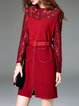 Wine Red Lace Elegant Plain Stand Collar Mini Dress With Belt