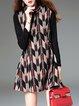 Multicolor Long Sleeve Buttoned A-line Cotton Mini Dress