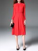 Red Stand Collar Mesh Long Sleeve Stripes Midi Dress