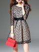 Black Paisley Crew Neck Elegant Pierced Mini Dress With Belt