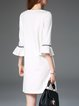 White Weave Paneled Flounce Plain Mini Dress