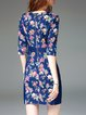 Denim Foral Paneled Elegant Half Sleeve Mini Dress
