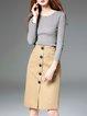 Khaki Bodycon Cotton-blend Work Plain Midi Skirt