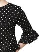 Black Casual Crew Neck Polka Dots Frill Sleeve Blouse