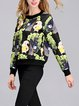 Printed Polyester Long Sleeve Crew Neck Casual Top