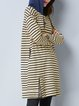Stripes Long Sleeve Hoodie Cotton-blend Casual Midi Dress