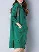 Green Long Sleeve Slit Cotton-blend H-line Midi Dress