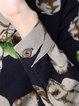 Multicolor High Low Slit Shirt Collar Long Sleeve Blouse