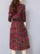 Red Cotton-blend Casual Floral-print Midi Dress