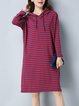 Hoodie Long Sleeve Stripes Midi Dress