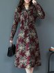Red Floral Casual Midi Dress