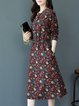 Printed A-line Long Sleeve Casual Midi Dress
