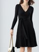 Surplice Neck Long Sleeve Cotton Midi Dress