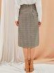Khaki Girly Checkered Midi Skirt