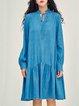 Blue Long Sleeve Denim Shift Midi Dress