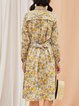 Yellow Cotton Long Sleeve A-line Floral Midi Dress