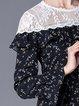 Black Ruffled Girly A-line Paneled Midi Dress