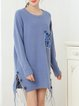 Long Sleeve Crew Neck Slit Sweater Dress