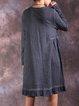 Ruffled Long Sleeve Cotton Linen Dress