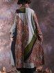 Multicolor Shift Long Sleeve Shawl Collar Linen Outerwear
