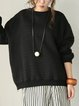 Black Cotton Long Sleeve Linen Top