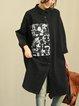 Black Casual Shirt Collar Linen Dress