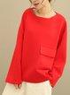 Red Long Sleeve Pockets Linen Top