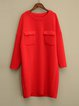 Red Casual Crew Neck Viscose Linen Dress