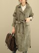Lapel Cotton-blend Casual Shift Long Sleeve Linen Outerwear