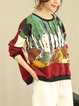 Multicolor Crew Neck Cotton Printed Long Sleeve Top