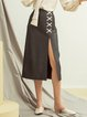 Black-grey Slit A-line Casual Midi Skirt