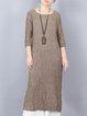 Half Sleeve Casual A-line Linen Dress