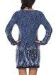 Blue Printed Casual Long Sleeve Mini Dress