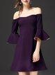 Sweet Off Shoulder A-line Frill Sleeve Mini Dress