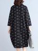 Black Turtleneck Long Sleeve Printed Linen Dress