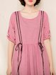Crew Neck Half Sleeve A-line Gingham Linen Dress