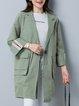 Green Long Sleeve Solid Lapel Linen Outerwear