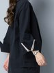 Long Sleeve Cotton Solid Pockets Casual Linen Dress
