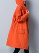 Solid Hoodie Casual Shift Linen Outerwear