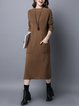 H-line Knitted Long Sleeve Casual Solid Linen Dress