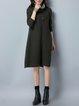 Dark Green Cowl Neck Shift Casual Knitted Linen Dress