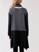 Crew Neck Long Sleeve Asymmetrical Casual Tunic With Belt