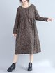 Khaki Crew Neck Long Sleeve Printed Cotton-blend Linen Dress
