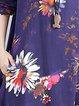 Crew Neck Casual Cotton-blend Floral Linen Dress