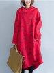 Red High Low Long Sleeve Hoodie Animal Dress