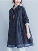 Navy Blue Casual Paneled Shift Cotton-blend Linen Dress